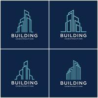 ange samling byggnad logo design bunt konstruktion. premium visitkort, inspirerande stadsbyggnad abstrakta logotyper modernt.