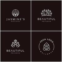 feminint konturlogotypdesignpaket, kan användas för kosmetika, skönhetssalong, spa, yoga och hudvård.