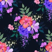 färgglada botaniska sömlösa blommönster på mörk bakgrund.