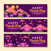 Reihen von Lotusblumen und Laternen während des Vesak vektor