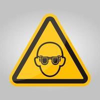 symbol bär skyddsglasögon tecken isolera på vit bakgrund, vektorillustration eps.10