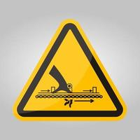 Warnung bewegliches Teil verursachen Verletzungssymbolzeichen isolieren auf weißem Hintergrund, Vektorillustration vektor