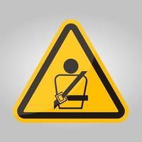 ppe icon.wearing ein Sicherheitsgurtsymbolzeichen isolieren auf weißem Hintergrund, Vektorillustration eps.10 vektor