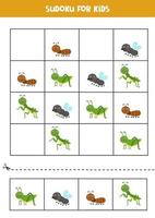 sudoku spel med söta insekter. för barn. vektor
