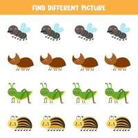 finde niedliche Insekten, die sich von anderen unterscheiden. Arbeitsblatt für Kinder. vektor