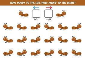 links oder rechts mit süßer Ameise. logisches Arbeitsblatt für Kinder im Vorschulalter. vektor