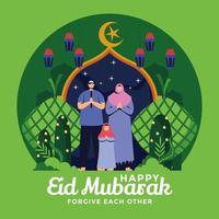 Vergebung unserer Mitmenschen während eid mubarak vektor