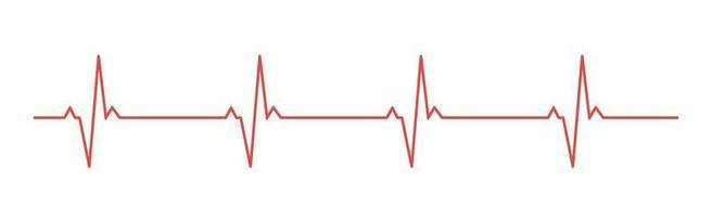 Herzpuls - gekrümmte rote Linie auf weißem Hintergrund vektor