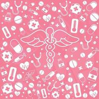 medicinsk panoramabakgrund med olika läkemedel - vektor