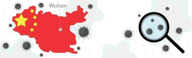 Bakterien neuartige Covid-19-Virus, Wuhan Stadt China - Vektor