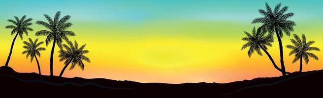 Sonnenuntergang am Strand mit Palmen vektor