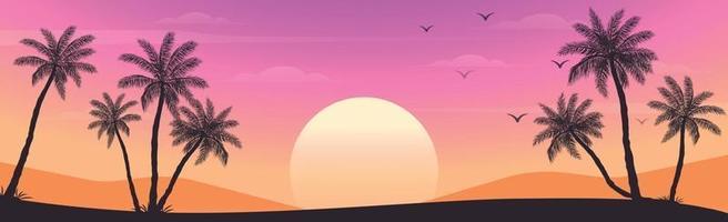 solnedgång på stranden med palmer vektor