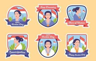 Happy Kartini Day Abzeichen Sammlung vektor