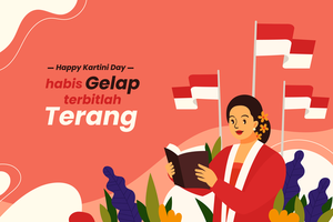 Kartini-Tag-Hintergrundkonzept im flachen Stil vektor