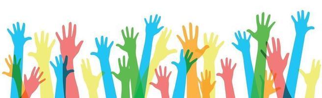viele mehrfarbige Hände auf einem weißen Hintergrund - Vektor