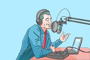 Influencer Boardcasting im Studio, DJ Live im Studio, Sprecher Rede machen Publikum Motivation, Podcaster Livestreaming für Follower, Inhalt für Mitwirkende, flache Vektor-Illustration vektor