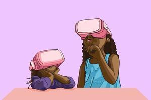 små flickor som bär virtual reality-enhet vr barn lär sig hur man använder vr-enhet och intressant student som studerar vr i fantasi, innehåll för bidragsgivare platt vektorillustration.
