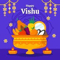 Happy Vishu in flachem Design vektor