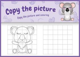 Kopieren Sie das Bild Kinderspiel und Malvorlagen mit einer niedlichen Koala-Charakterillustration vektor