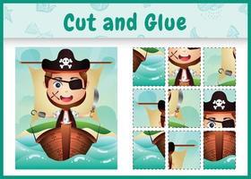 Kinder Brettspiel schneiden und kleben themenorientierte Ostern mit einer niedlichen Piratenjungencharakterillustration auf dem Schiff vektor