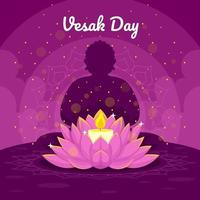 Vesak-Feier mit Kerze und Lotus vektor