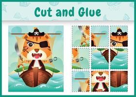 barn brädspel klipp och lim tema påsk med en söt pirat tiger karaktär illustration på fartyget vektor