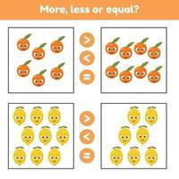 mer, mindre eller lika. pedagogiskt matematikspel för barn i förskolan och skolåldern. frukter. citroner och apelsiner. vektor