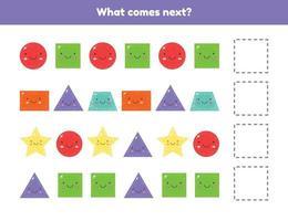vad kommer härnäst. fortsätt sekvensen. geometriska former. kalkylblad för barnens dagis, förskola och skolålder. vektor