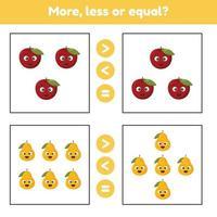 mer, mindre eller lika. pedagogiskt matematikspel för barn i förskolan och skolåldern. frukter. äpple och päron. vektor