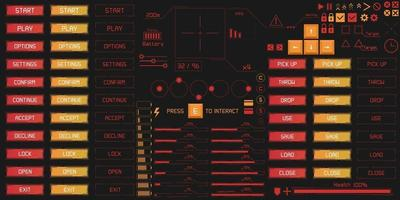 Set von UI- und Hud-Game-Ready-Elementen im digitalen Stil. vektor