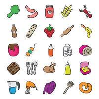 Essen und Küchenutensilien vektor