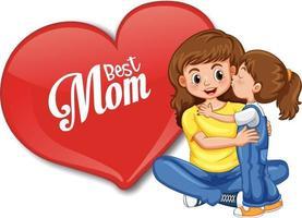 beste Mutterschrift in einem großen Herzen mit Mutter, die ihr Kind umarmt vektor