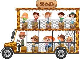Zoo-Konzept mit Kindern auf Touristenauto lokalisiert auf weißem Hintergrund vektor