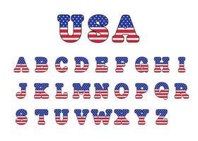 Beschriftungsentwurf mit amerikanischer Flagge zur Dekoration am amerikanischen patriotischen Tag vektor