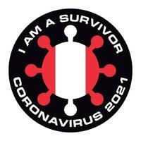 Jag är överlevande coronavirus 2021 peru flagg klistermärke vektor