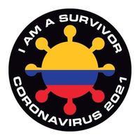 jag är överlevande coronavirus 2021 colombia flagg klistermärke vektor