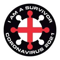 jag är överlevande coronavirus 2021 englands flagga klistermärke vektor