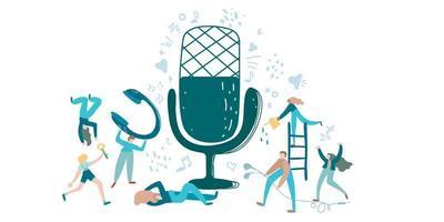 podcast vektorillustration. ljudchatt-talkshow, diskussion och intervjupersoner. virtuell mediekommunikation med mikrofon. klubbhus, ljudchattkoncept. influencer marknadsföring underhållning prestanda verksamhet vektor