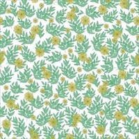 Blumenmuster. hübsche gelbe Blumen, grüne Blätter auf weißem Hintergrund. Druck mit kleinen Blumen und Zweigen. Vintage Blumenmuster. einfacher Blumenhintergrund für Stoff, Verpackung und Sammelalbum. vektor