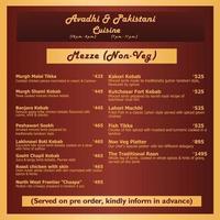 Avadhi pakistanischen Hotelmenü Vektorgrafiken vektor