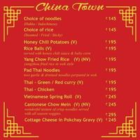 China Town Hotel Menü Vektorgrafiken vektor
