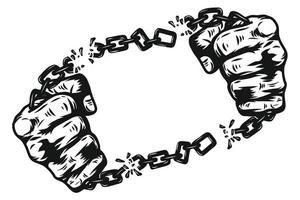 Faust mit Kettenschäkel von Hand zeichnen. grafisches handbedrucktes T-Shirt vektor