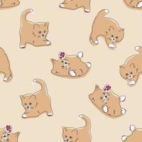 Katzen nahtloses Muster. lustige Karikaturkätzchen in verschiedenen Posen auf beigem Farbhintergrund. Vektor handgezeichnete Illustration im flachen Stil, Pastellpalette zum Drucken von Textilien, Verpackung