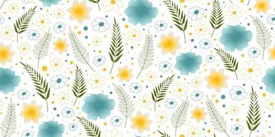 Strand fröhliches nahtloses Muster mit Palmblättern und Blumen. Perfekt für Tapeten, Hintergrund, Geschenkpapier und Stoff. vektor