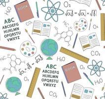 nahtloses Muster der Schulfächer und -objektvektorillustration. Perfekt für Tapeten, Hintergrund, Stoff oder Bücher. vektor