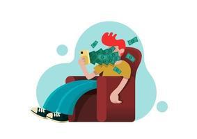 Mann, der Smartphone verwendet und auf Sessel mit Dollarnoten sitzt, die vom Bildschirm wegfliegen, Geldtransfer, E-Commerce und digitales Investitionskonzept, Vektorillustration vektor