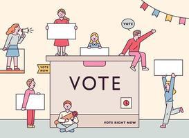 Menschen versammeln sich mit Stimmzetteln um die riesige Wahlurne. vektor