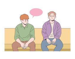 vänner sitter tillsammans vektor