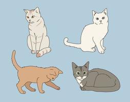 katt teckenuppsättning vektor
