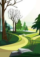 Frühlingswald mit anderem Baum vektor
